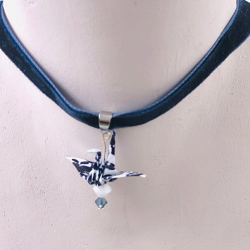 Origami Trachtenschmuck Kranich Blau