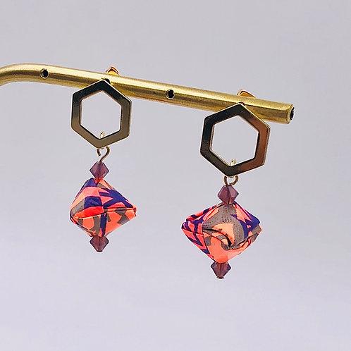 Origami Ohrringe Geometrisch Frosch mit Swarovski Perlen