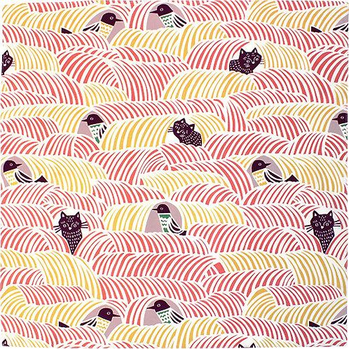Furoshiki 45 cohare  Schwarze Katze und Vogel Rosa