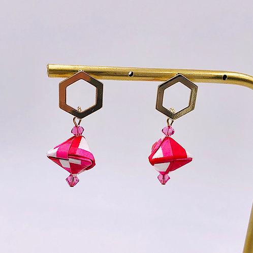 Origami Ohrringe Geometrisch Streichen Rot-Pink mit Swarovski Perlen