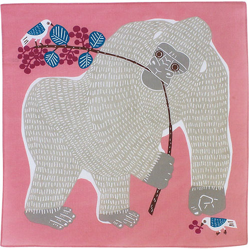Musubi Katakata Furoshiki Wickeltuch, Motiv: Gorilla Rosa, 50 x50  c