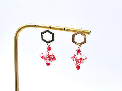 Origami Ohrringe Geometrisch Ume mit Swarovski Perlen