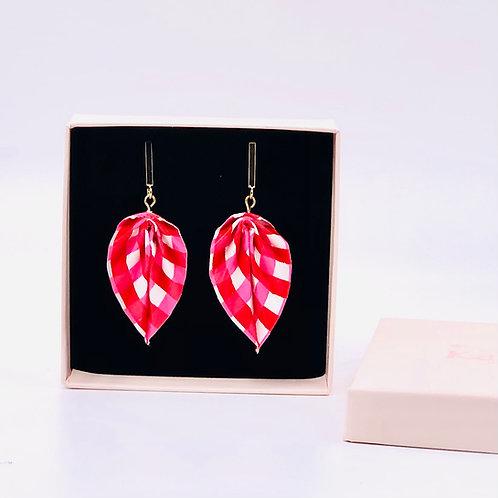 Origami Ohrringe Blätter Streichen Rot-Pink