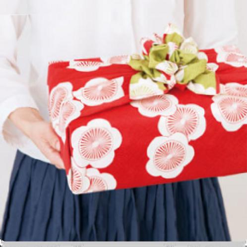 Furoshiki 104 Isa monyo Reversible Ume Rot-Grün