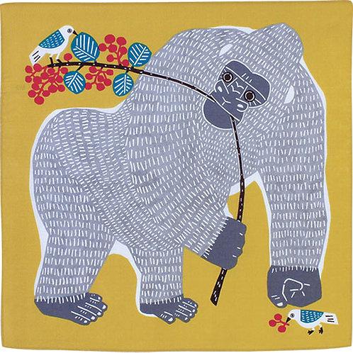 Furoshiki 50 Katakata  Gorilla  Gelb-Hellblau , 50 x50  c