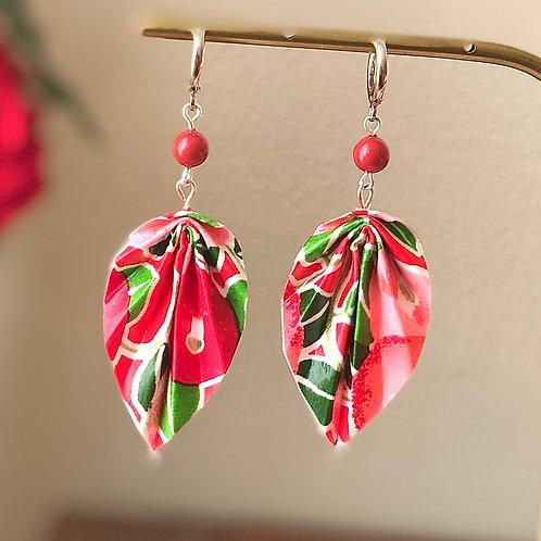 Origami Ohrringe Blätter Tsubaki Rot mit Swarovski Perlen