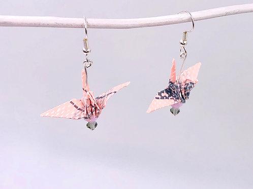 Origami Ohrringe Kranich Rosa-Grau mit Swarovski Grasperlen