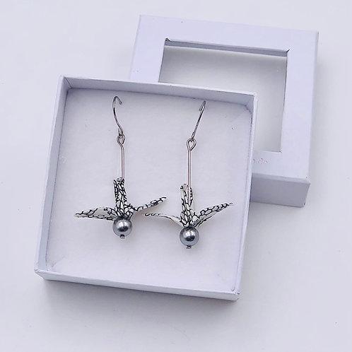 Origamiscmuck Ohrringe Kranich Kiku mit Swarovski Perlen