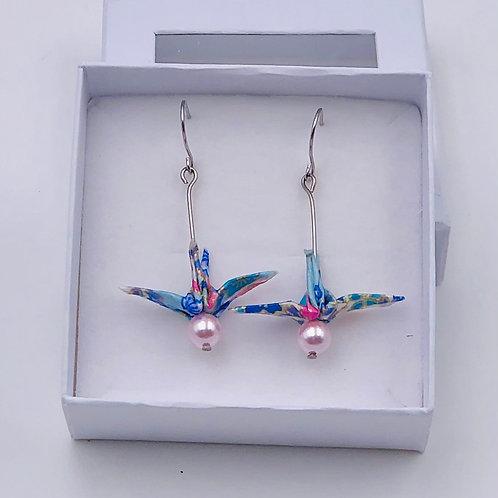 Origamiscmuck Ohrringe Kranich Sakura Blau mit Swarovski Perlen