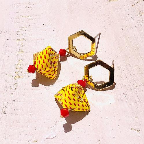 Origami Ohrringe Geometrisch Gelb-Rot mit Swarovski Perlen