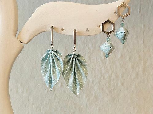 Origami Ohrringe Blätter Türkis Punkt