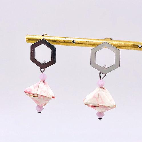 Origami Ohrringe Geometrisch Sakura Weiß-Rosa mit Swarovski Perlen