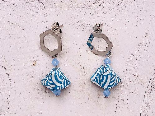 Origami Ohrringe Geometrisch Bayern mit Swarovski Perlen