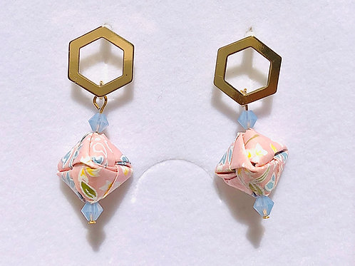 Origami Ohrringe Geometrisch Sakura-Rosa mit Swarovski Perlen