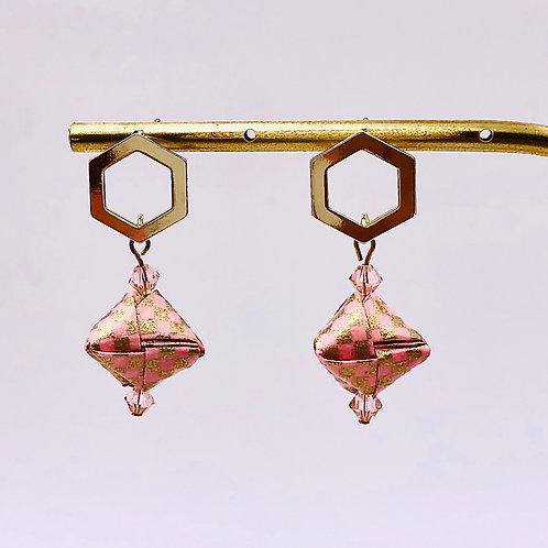 Origami Ohrringe Geometrisch Rosa-Sand mit Swarovski Perlen