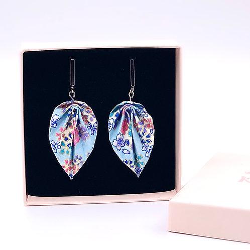 Origami Ohrringe Blätter Sakura hellblau