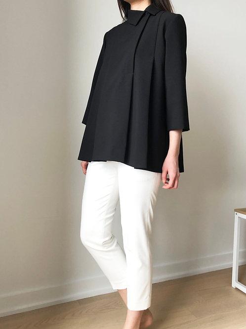 MIN-Silk Shirt with off-center collar