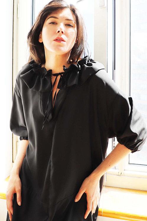 Black Ruffle Collar Long Dress