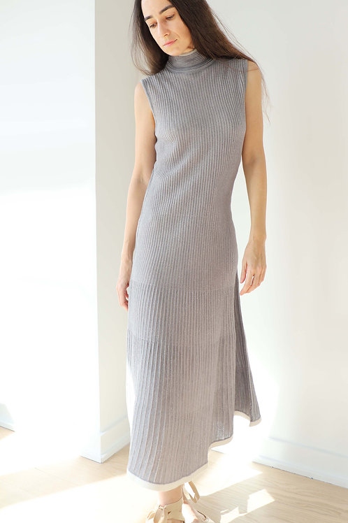 Pleated Shimmering Knit Dress