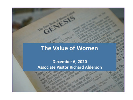 The Value of Women, Gen. 2:18-25
