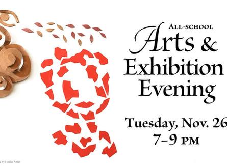 Arts & Exhibition Evening Tues Nov 26 7-9pm