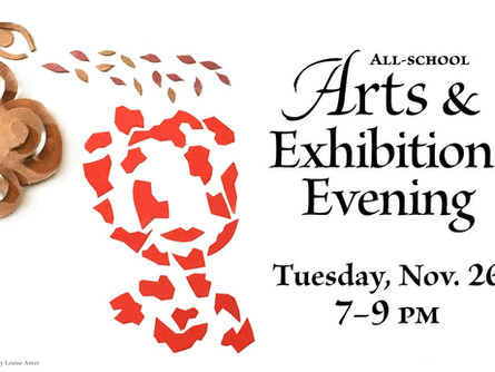Arts & Exhibition Evening Tues Nov 26 7-9pm