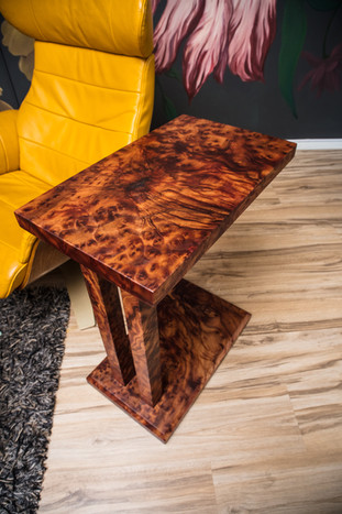 Exotic Camphor Burl Cantilever C-Table