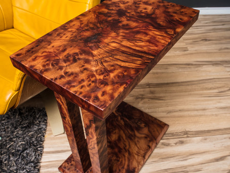 Exotic Rare Camphor Burl Solid Wood Cantilever Table