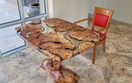 Maple Burl Clear Resin Tree Table