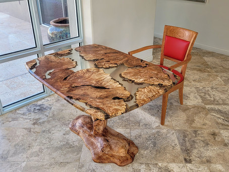 Maple Burl River Chess Table with Carved Tree Base