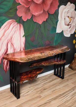 Red Gum Burl Console with Shelves