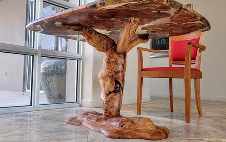 Carved Maple Burl Tree Base