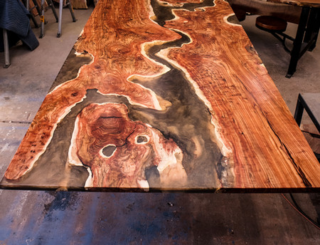Carob & Copper Resin River Dining Table