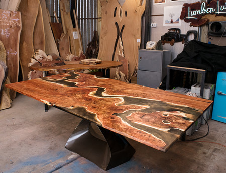 Carob & Copper Resin River Dining Table on Steel Tulip Base