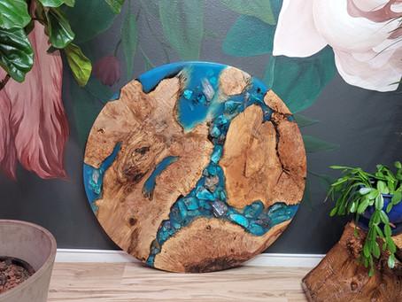"39"" Maple Burl Chrysocolla+Kyanite Mineral Rock River Wall Art"