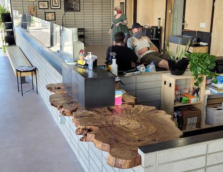 Golden Rule Tattoo Live Edge Wood Reception Countertop