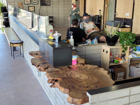 "Pepper Burl 82x34"" Wood Slab Live Edge Countertop for Golden Rule Tattoo's New Camelback Location"
