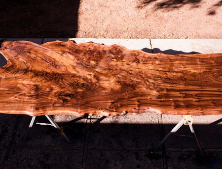 4x9ft single slab walnut dining table live edge