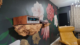 Flame Box Elder Burl Floating Stereo Console