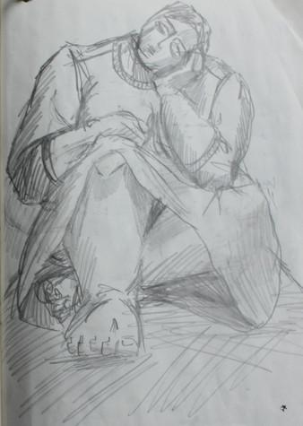 Sketch of SUM, head on hands