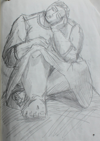 Sketch of SUM, head on hands
