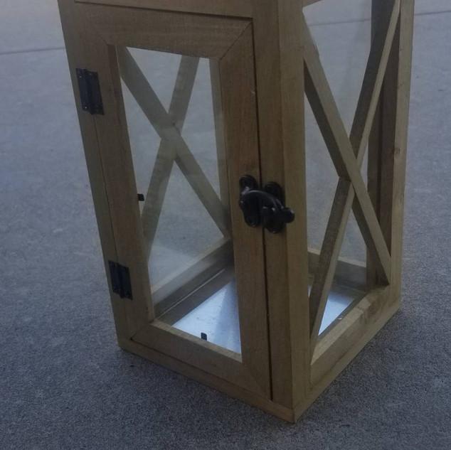 Wooden Lantern with Cross Windows 12in