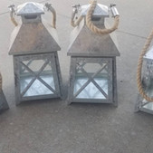 Metal Lantern with Rope Handle 11in- $8 each (QTY-4)