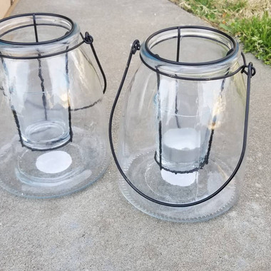 Glass Lantern with Handle- $8 each (QTY-2)