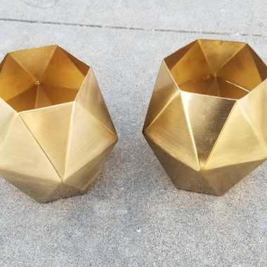 Gold Solid Geo Tealight- $1 each (QTY-2)