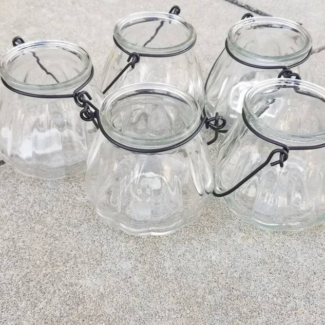 Clear Glass Tea Light Holders with Handle