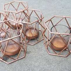 Copper Geo Tea Light Holders