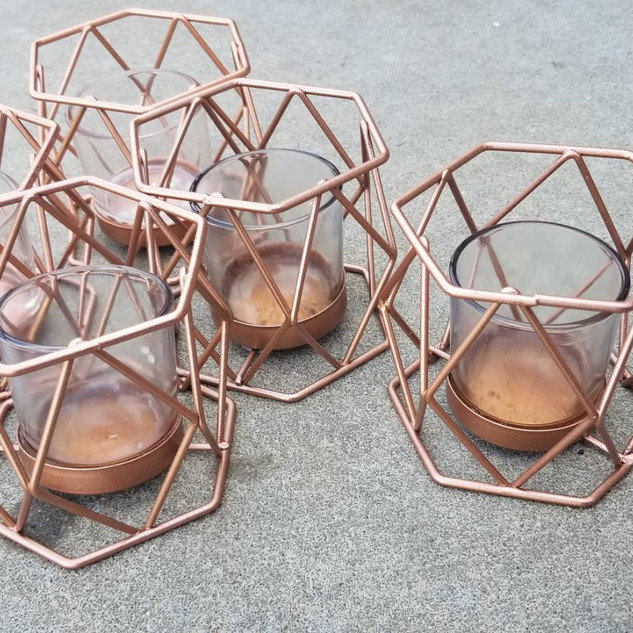 Copper Geo Tea Light Holders