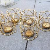 Gold Geo Tealight Holders- $2 each (QTY-6)