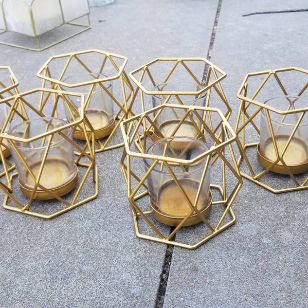 Gold Geo Tea Light Holders